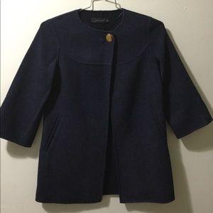 Zara Navy Blue Wool Jacket